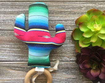 Serape Stripe Cactus Teething Ring - Cactus Teether - Baby Gift - Southwest Style - Mexican Style Wood Ring Teether - Saguaro - Desert Style