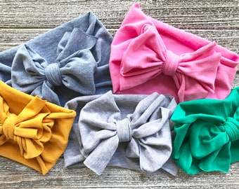 Bow Turban Headbands - Baby Head Wrap Headband - Soft Knit Jersey - Stretch Hairband - Baby Girl Gift - Boho Baby Boho Style - Tribal Style