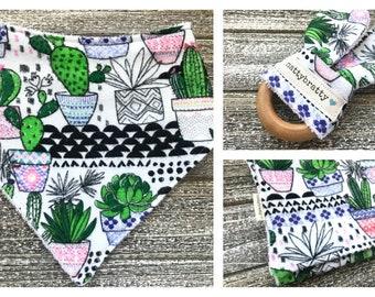 Build A Gift Set: Modern Potted Cacti - Baby Bib - Bandana Bib - Burp Cloth - Teething Ring - Southwest Style Baby Gift - Succulents Saguaro