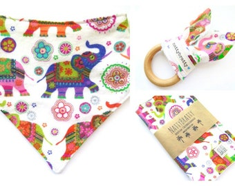 Build A Gift Set: Baby Bib - Burp Cloth - Teething Ring - Indian Elephants - Baby Girl Gift - Tribal Style