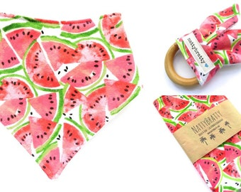 Build A Gift Set: Baby Bib - Burp Cloth - Teething Ring - Watermelon Summer Picnic - Baby Gift - Baby Shower Gift - Bibdana Bandana Bib