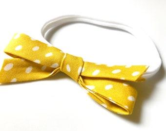 Yellow Dot Fabric Bow Headband - Baby Headband - Modern Baby Style - Bow Hairband - Baby Girl Gift