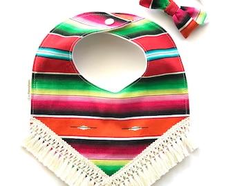 Boho Style Fringe Bib - Baby Girl Bib - Teething Bib - Baby Girl Gift - Southwest Desert Style - Mexican Red Serape Print Bib - Baby Bib