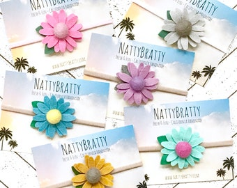 Choose from 6 colors: Daisy Felt Flower Headband - Baby Headband - Newborn Headband - Baby Girl Gift - Spring Style - Floral Headband - Boho