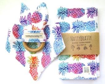 Pineapple Baby Bib - Bandana Bib - Burp Cloth - Teething Ring - Summer Tropical - Rainbow Pineapples - Baby Gift - Baby Shower Gift