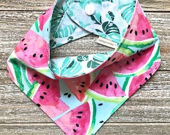 Reversible Baby Bib - Cotton Summertime Bibdana - Watermelons & Palm Leaves - Baby Girl Gift - Baby Shower Gift - Teething Bib - Summer Baby