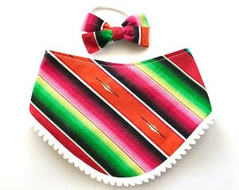 Red Serape Stripe Pom Pom Bib - Bibdana - Bandana Style Drool Bib - Baby Girl Gift - Boho Baby - Mexican Southwest Desert Style