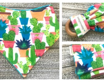 Build A Gift Set: Bright Potted Cacti - Baby Bib - Bandana Bib - Burp Cloth - Teething Ring - Southwest Style Baby Gift - Succulents Saguaro