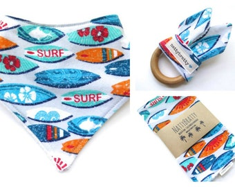 Build A Gift Set: Bib - Burp Cloth - Teething Ring - Surfboards Beach Theme Surfer Style Baby Gift - Baby Shower Gift - Baby Boy Bib