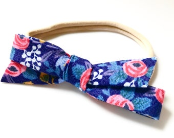 Rifle Paper & Co Navy Blue Floral Fabric Bow Headband - Baby Headband - Modern Baby Style - Bow Hairband - Baby Girl Gift