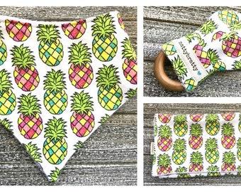 Build A Gift Set: Pineapple Baby Bib - Bandana Bib - Burp Cloth - Teething Ring - Summer Tropical - Rainbow Pineapples - Baby Shower Gift