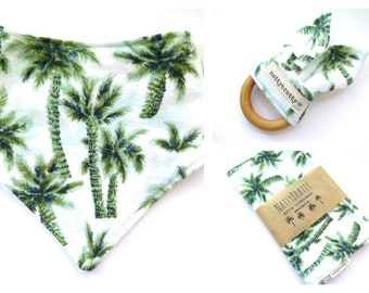Build A Gift Set: Baby Bib - Burp Cloth - Teething Ring - Palm Trees - Baby Shower Gift - Summer Style Tropical Island Beach Baby