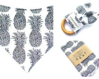 Build A Gift Set: Baby Bib - Burp Cloth - Teething Ring - Summer Tropical - Black and White Pineapples - Baby Gift - Baby Shower Gift
