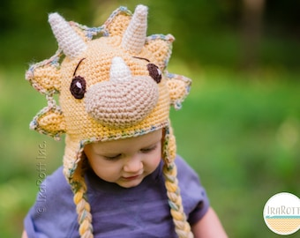 CROCHET PATTERN Tops The Triceratops Dinosaur Hat PDF Crochet Pattern with  Instant Download 06595f5301d