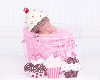 Cupcake HatBirthday BeanieCrochet Cupcake  HatToddler BeanieHandmade Cupcake  HatBirthday Cupcake  Hat Birthday Photo Prop Hat