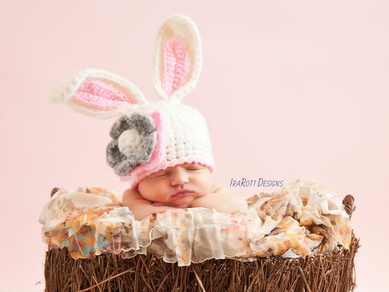 CROCHET PATTERN Crochet Chunky Bunny Rabbit Hat With Flower image 0