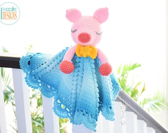 CROCHET PATTERN - Pinky The Piggy Security Blanket Lovey Crochet PDF Pattern with Instant Download