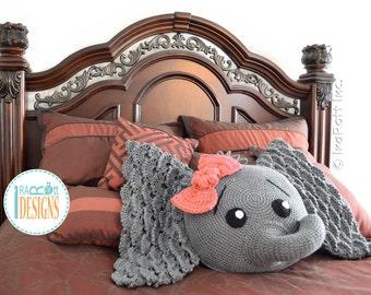 CROCHET PATTERN Josefina and Jeffery Elephant Pillow PDF Crochet Pattern with Instant Download