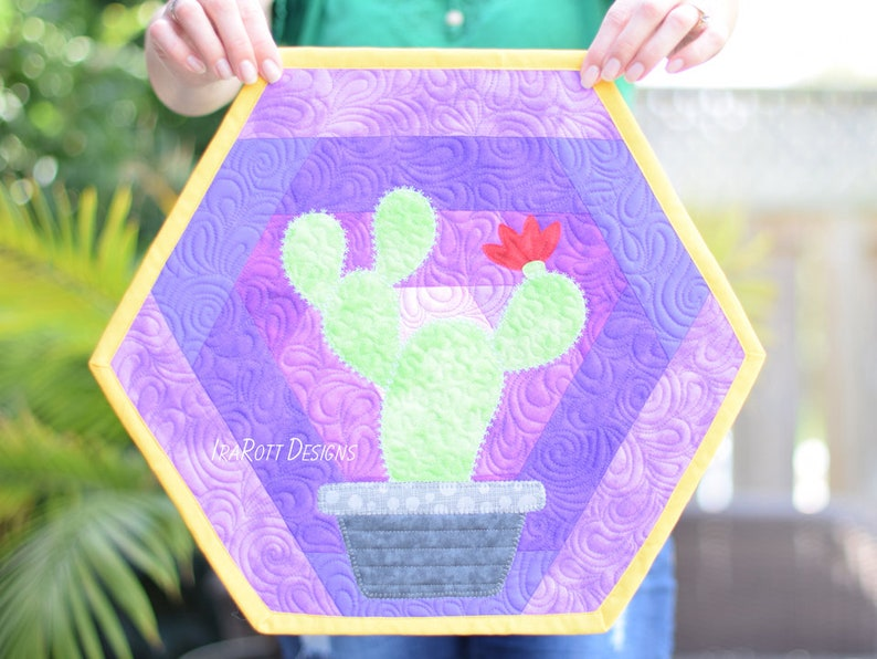 QUILTING PATTERN Hexi Cactus Placemats image 0