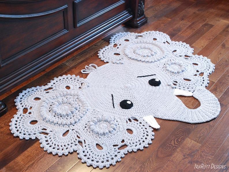 CROCHET PATTERN Josefina and Jeffery Elephant Rug PDF Crochet image 0