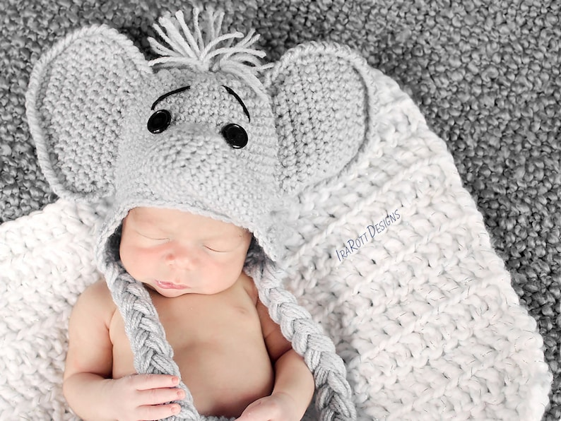 f3b7385b2 CROCHET PATTERN Jeffery Jr the Elephant Hat and Diaper cover Baby Set PDF  Crochet Pattern With Instant Download