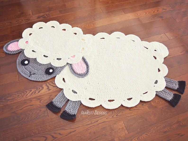 CROCHET PATTERN Baa Baa Easter Lamb Animal Rug image 0