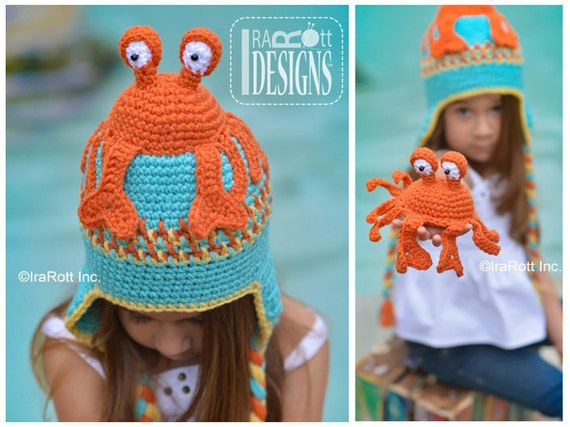CROCHET PATTERN Cranky the Crab Hat   Amigurumi Toy Set Crochet Pattern PDF  Instant Download af4968393b08