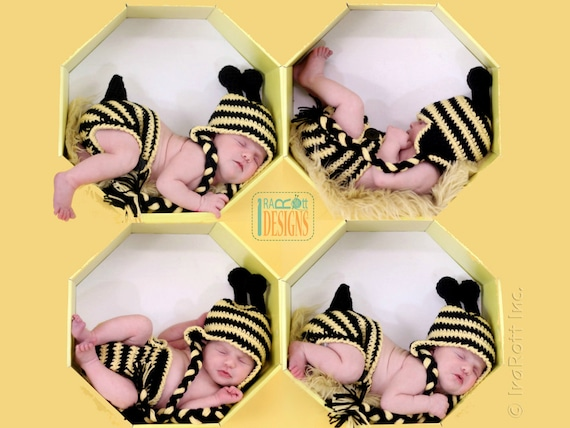 37c92420a72 CROCHET PATTERN Lazy Bee Hat and Diaper Cover Set Crochet PDF