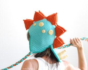 CROCHET PATTERN Spiky the Stegosaurus Dinosaur Hat