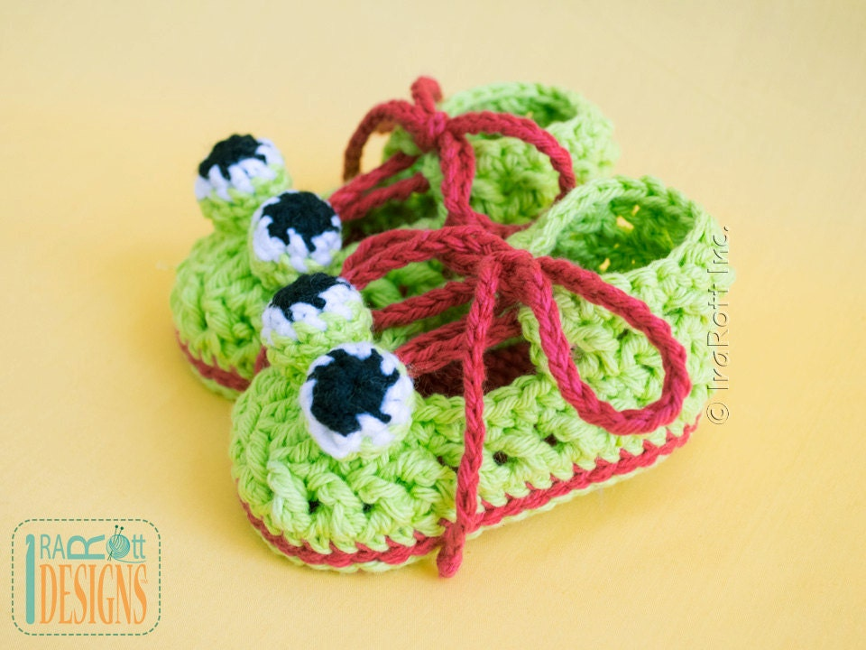 Crochet Pattern Crazy Eyes Double Sole Baby Frog Booties Pdf Etsy