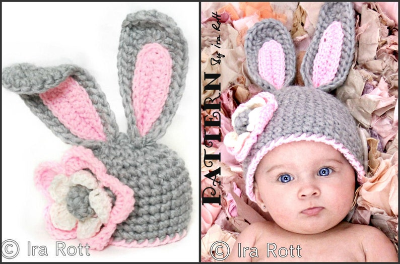 f1007f0b10c CROCHET PATTERN Crochet Chunky Bunny Rabbit Hat With Flower