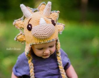 CROCHET PATTERN Tops The Triceratops Dinosaur Hat