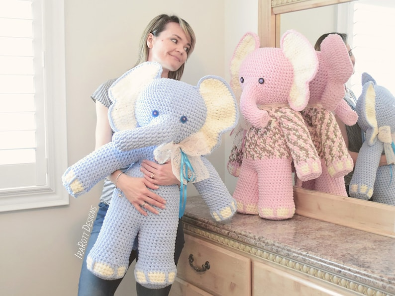 CROCHET PATTERN  Josefina and Jeffery Big Amigurumi Elephants image 0