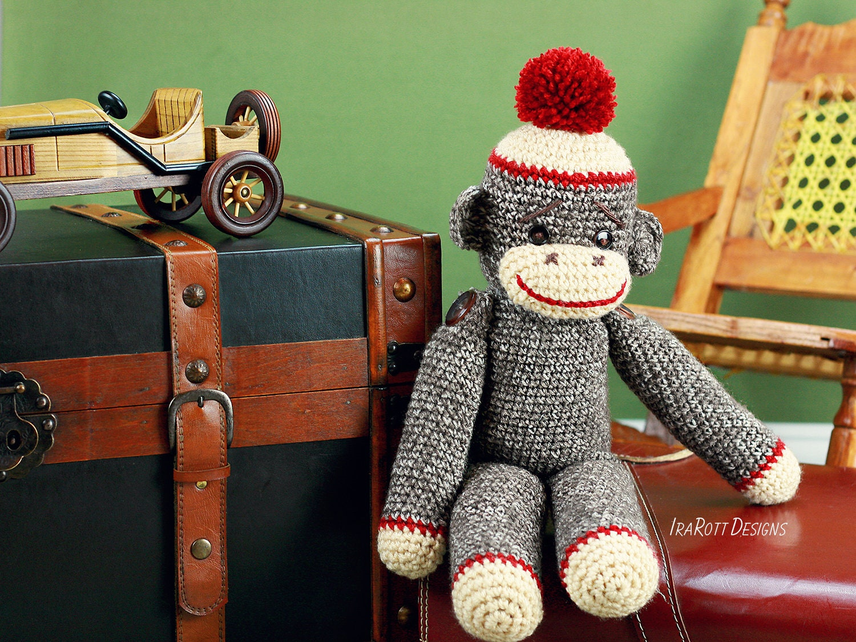 Crochet Pattern Spunky The Big Sock Monkey Crochet Pdf Pattern Etsy