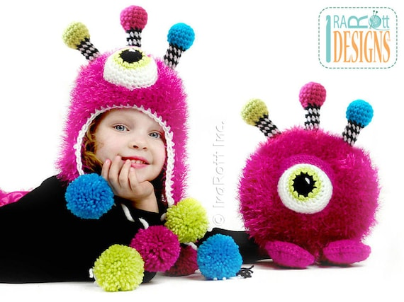 Pattern Neon The Gumball Monster Hat And Toy Set Crochet Pdf