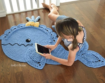 CROCHET PATTERN Joyce and Justin Whale Animal Rug