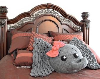 CROCHET PATTERN Josefina and Jeffery Elephant Pillow