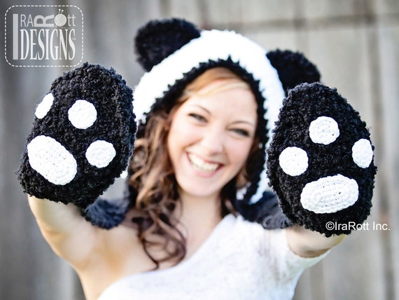 298471abc85 CROCHET PATTERN Panda Bear Hood with Scarf and Paws Crochet