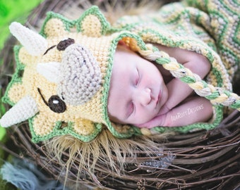 CROCHET PATTERN Tops The Triceratops Dinosaur Baby Hat and Cocoon Set