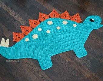 CROCHET PATTERN Spiky the Stegosaurus Dinosaur Animal Rug