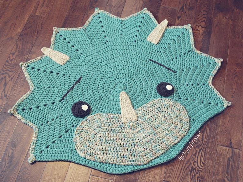 CROCHET PATTERN Tops The Triceratops Dinosaur Rug PDF Crochet image 0