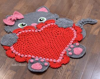CROCHET PATTERN Kitty Cat Heart Animal Rug