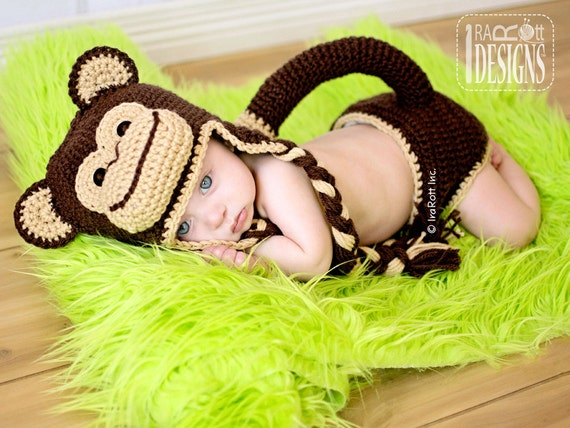 81f12860a20 CROCHET PATTERN Chip the Chimpanzee Monkey Baby Hat and Diaper