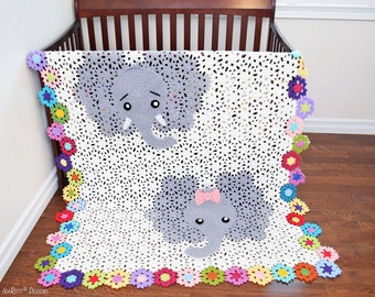 CROCHET PATTERN Josefina and Jeffery Elephant Blanket