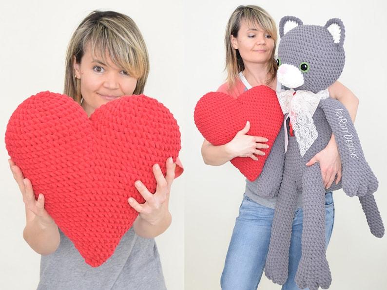 CROCHET PATTERN Sassy The Kitty Cat With Heart Big Amigurumi image 0
