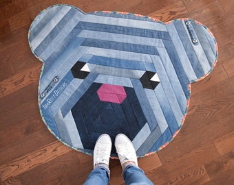 QUILTING PATTERN Cuddles The Hexi Bear Jelly Roll Rug
