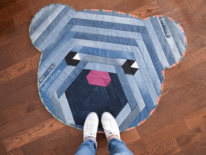 QUILTING PATTERN Cuddles The Hexi Bear Jelly Roll Rug image 0