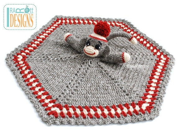 Crochet Pattern Classic Sock Monkey Snuggle Blankey Lovey Etsy