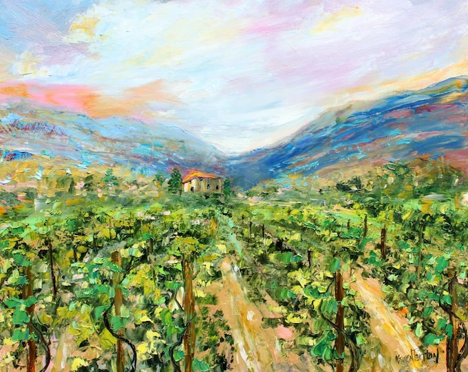 Featured listing image: Vineyard painting, vineyard art, vineyard original painting in oil palette knife impressionism on canvas fine art by Karen Tarlton