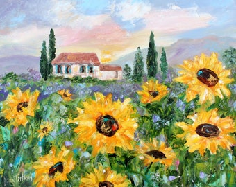 Tuscany Sunflowers painting in oil landscape palette knife impressionism on canvas 16x20 fine art by Karen Tarlton